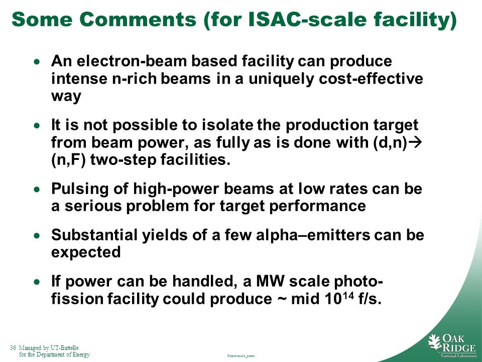 Some Comments (for ISAC-scale facility)
