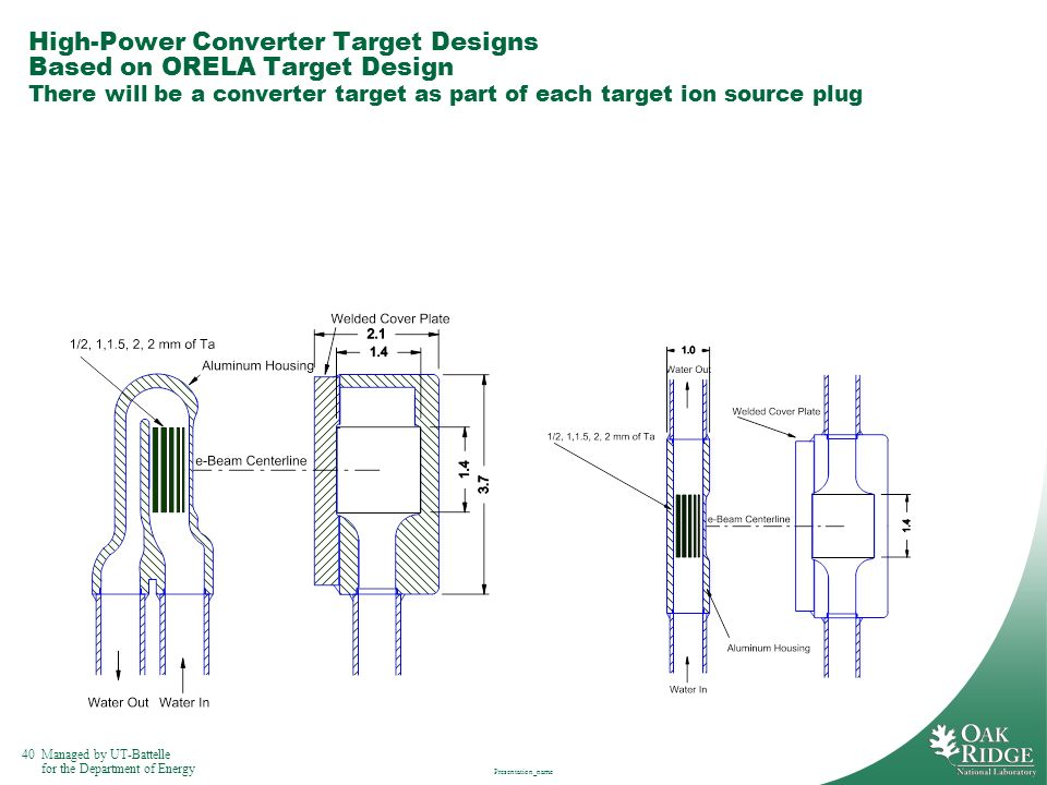 High-Power Converter Target Designs Based on ORELA Target Design There will be a converter target as part of each target ion source plug
