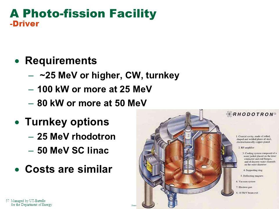 A Photo-fission Facility -Driver