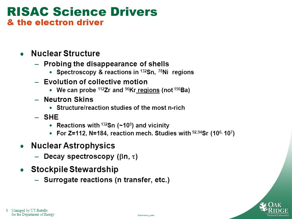 RISAC Science Drivers & the electron driver