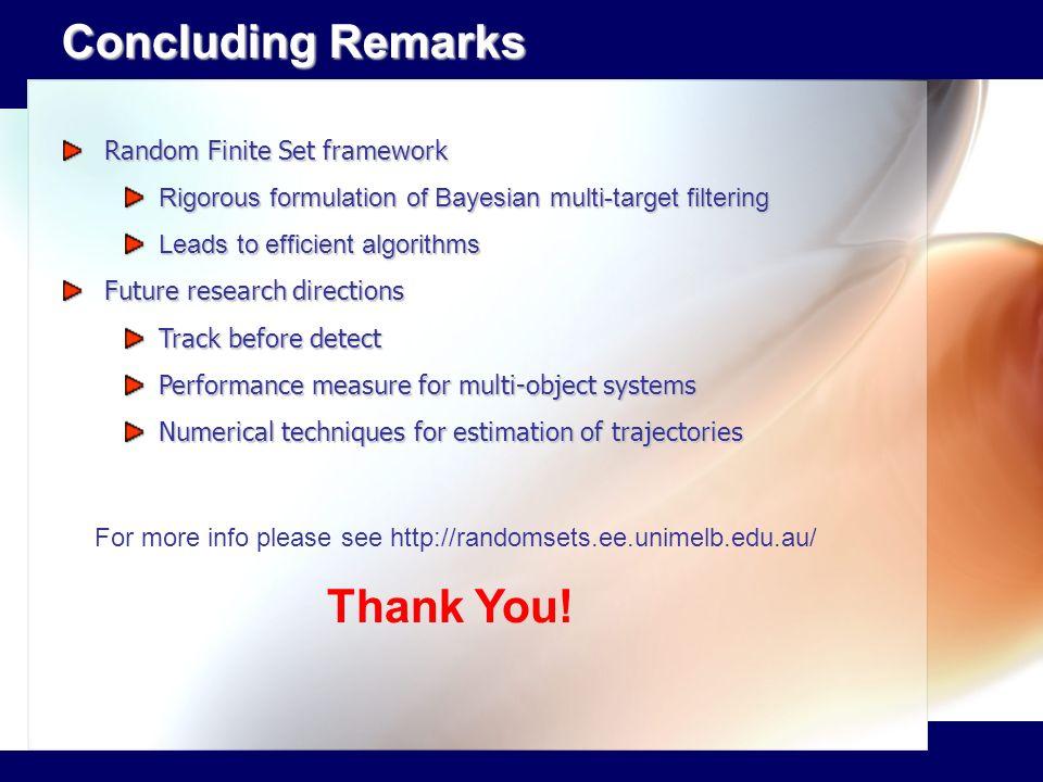 Concluding Remarks Thank You! Random Finite Set framework
