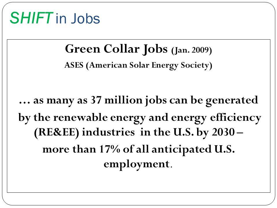 SHIFT in Jobs Green Collar Jobs (Jan. 2009)