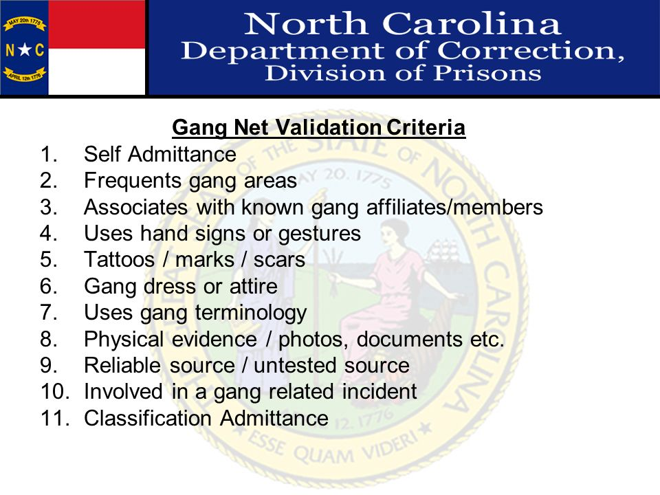 Gang Net Validation Criteria
