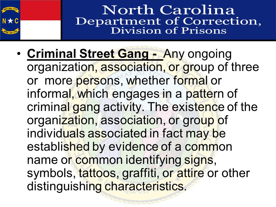 Criminal Street Gang - Any ongoing organization, association, or group of three or more persons, whether formal or informal, which engages in a pattern of criminal gang activity.