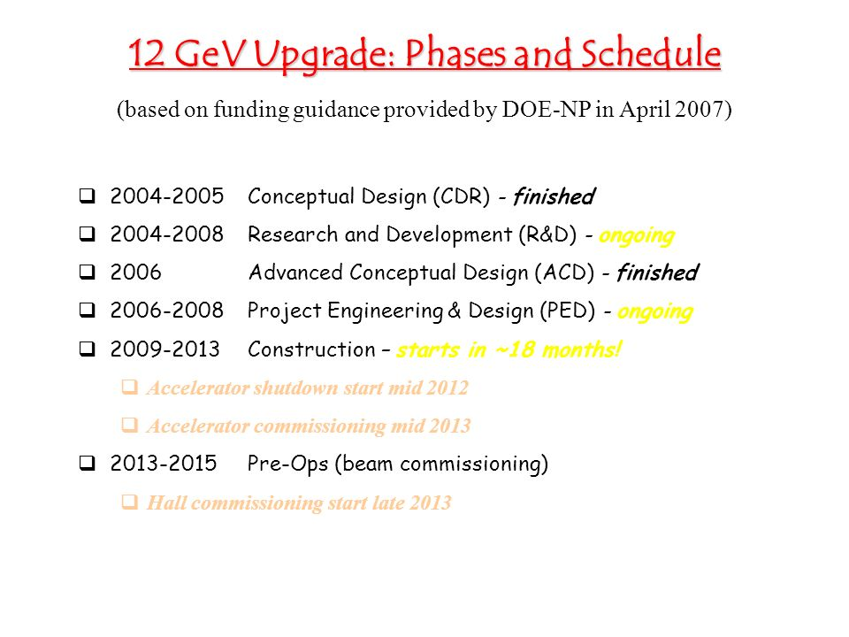 12 GeV Upgrade: Phases and Schedule