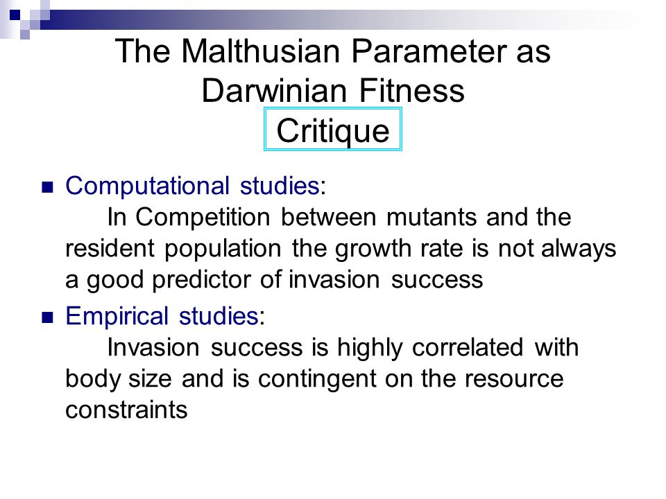 The Malthusian Parameter as Darwinian Fitness Critique