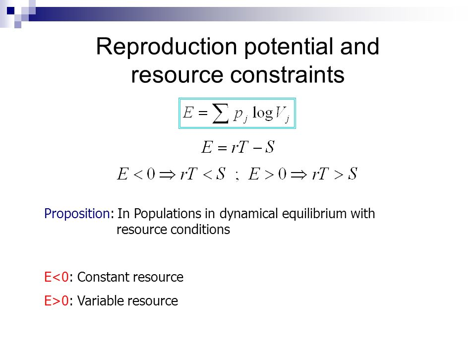 Reproduction potential and resource constraints