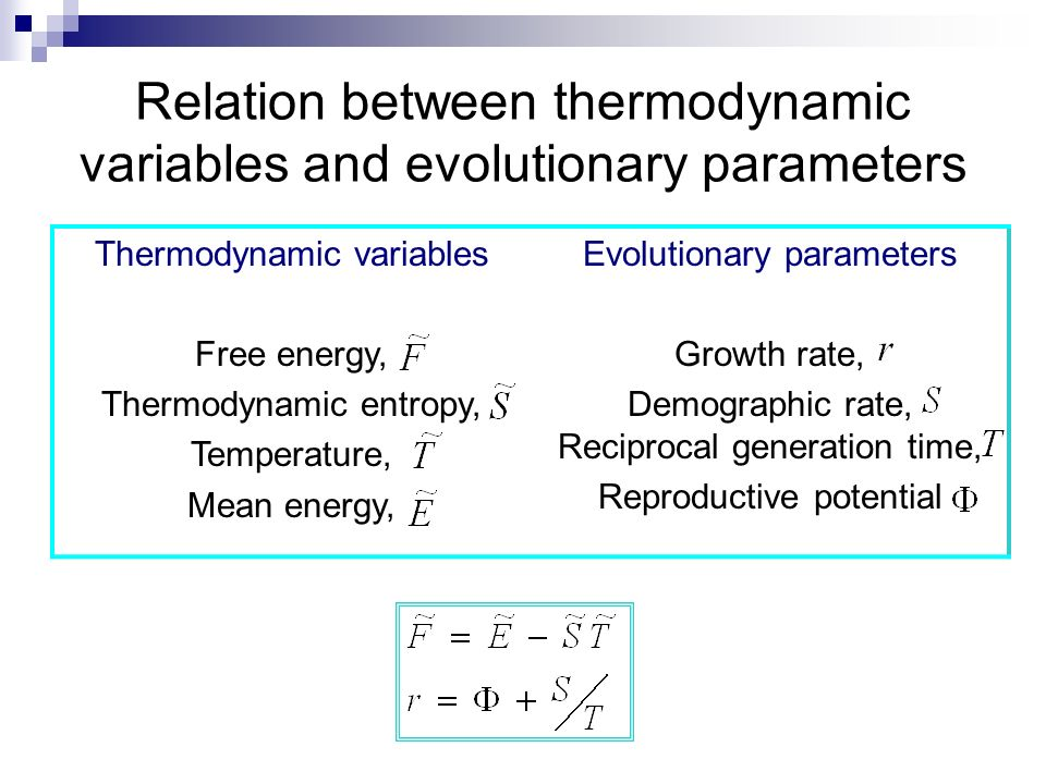 Relation between thermodynamic variables and evolutionary parameters