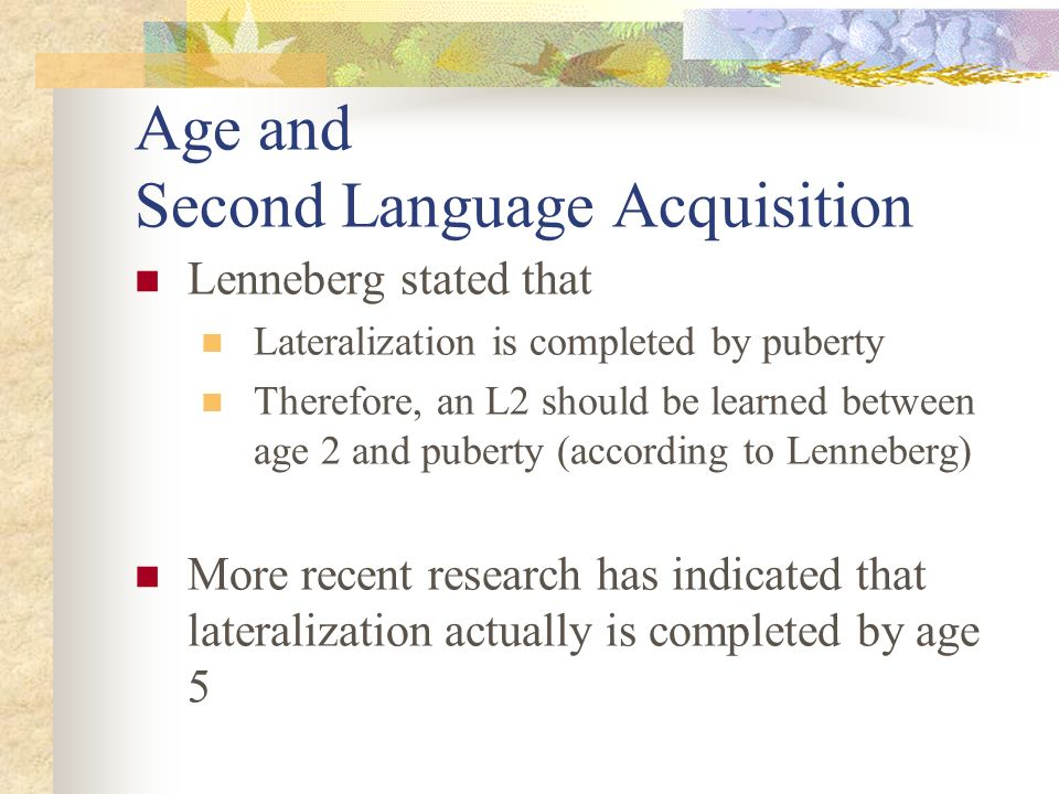 age and second language acquisition essay Is aptitude a factor in second language acquisition - essay comprehensiveness in which an individual gains fluency in a second language factors such as age.