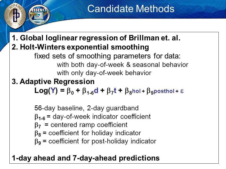 Candidate Methods 1. Global loglinear regression of Brillman et. al.