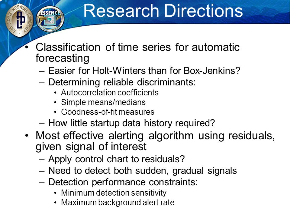 Research Directions Classification of time series for automatic forecasting. Easier for Holt-Winters than for Box-Jenkins