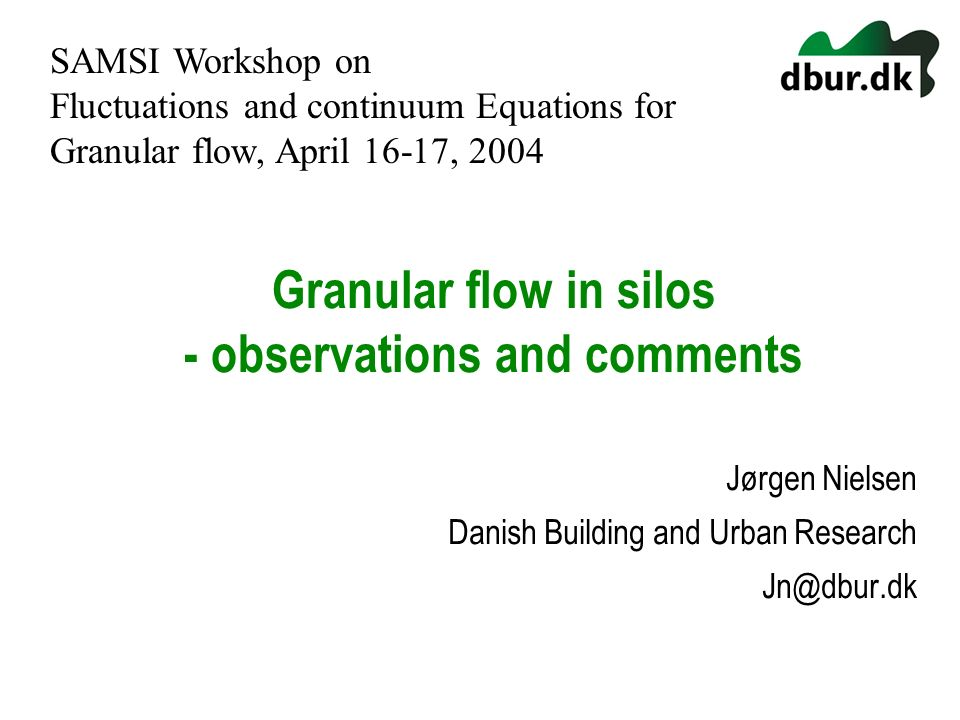 Granular flow in silos - observations and comments