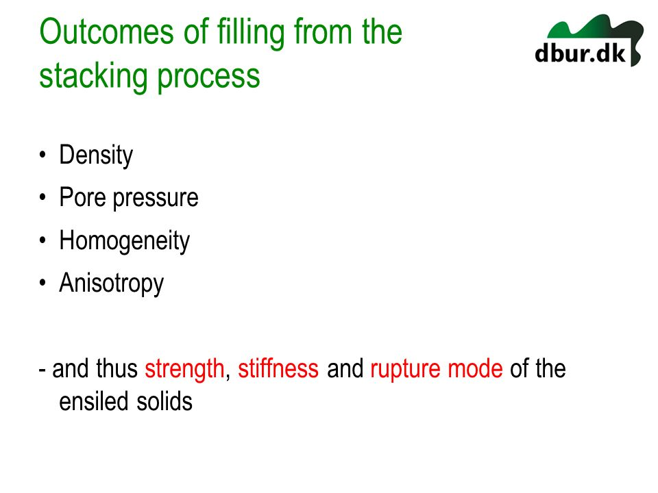 Outcomes of filling from the stacking process