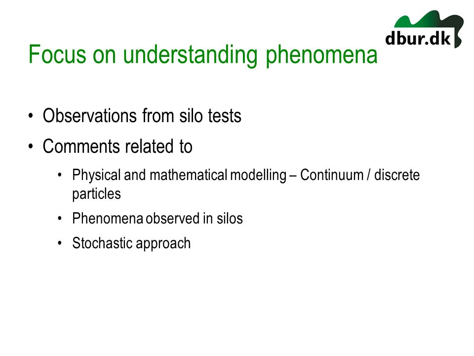 Focus on understanding phenomena