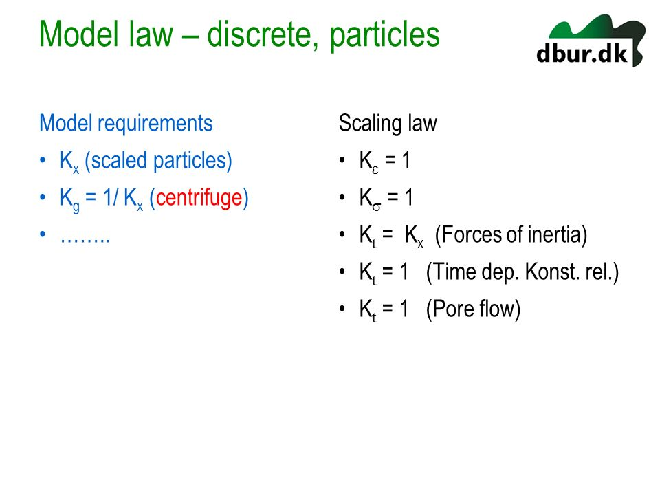 Model law – discrete, particles