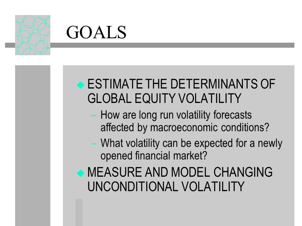 GOALS ESTIMATE THE DETERMINANTS OF GLOBAL EQUITY VOLATILITY