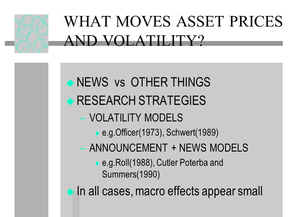 WHAT MOVES ASSET PRICES AND VOLATILITY