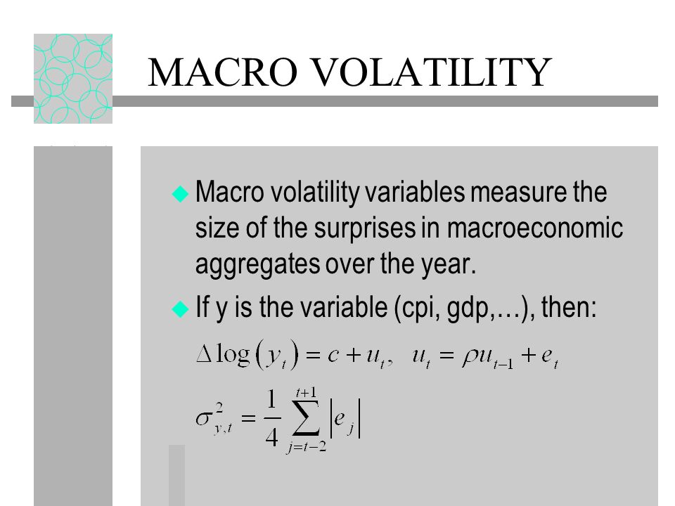 MACRO VOLATILITY Macro volatility variables measure the size of the surprises in macroeconomic aggregates over the year.