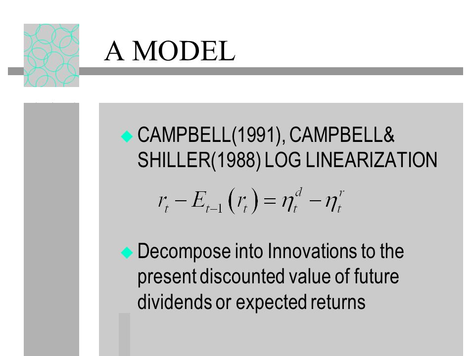 A MODEL CAMPBELL(1991), CAMPBELL& SHILLER(1988) LOG LINEARIZATION