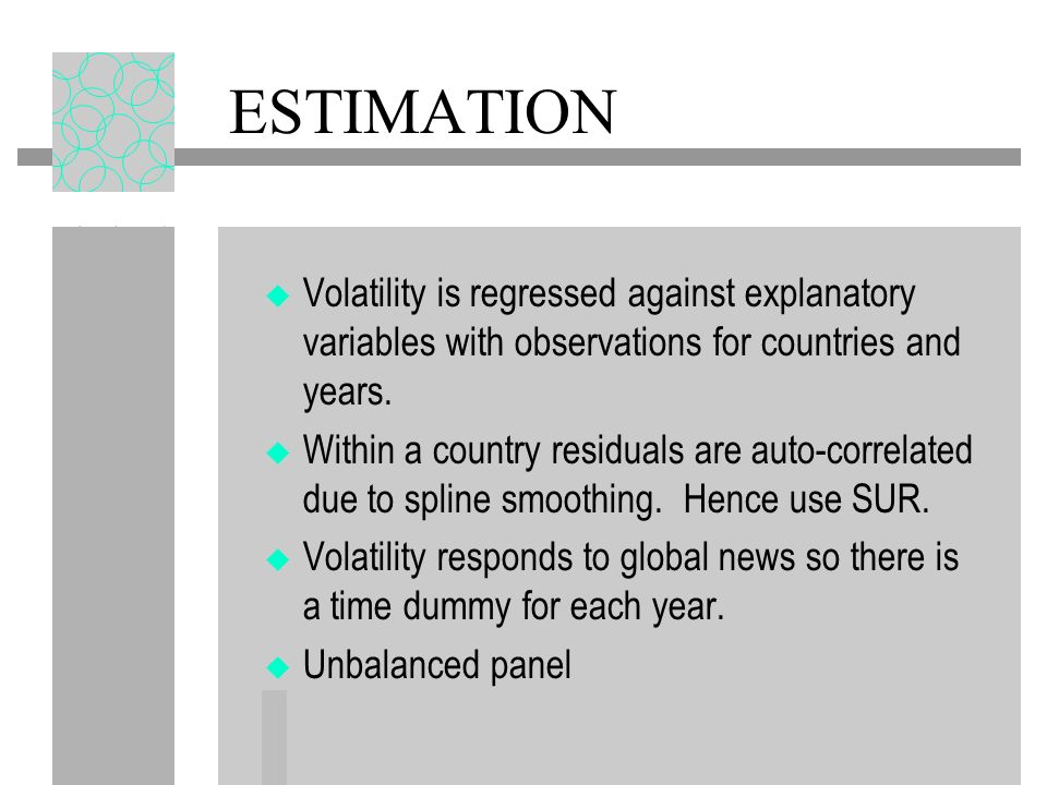 ESTIMATION Volatility is regressed against explanatory variables with observations for countries and years.