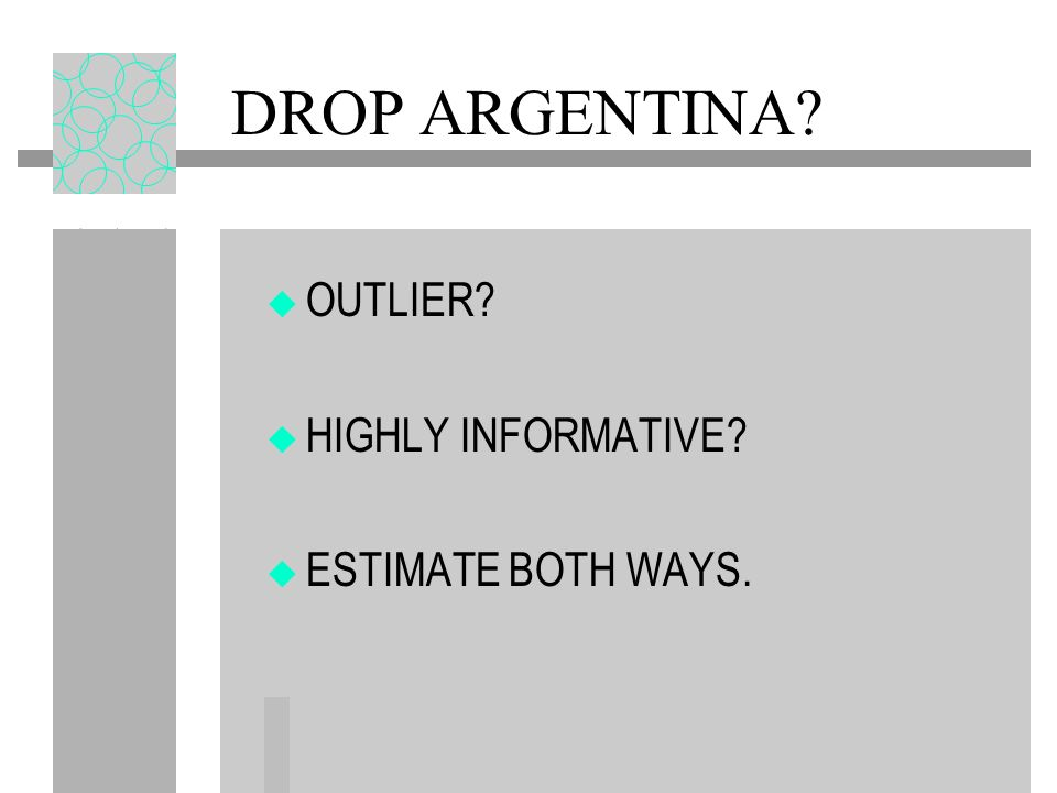 DROP ARGENTINA OUTLIER HIGHLY INFORMATIVE ESTIMATE BOTH WAYS.