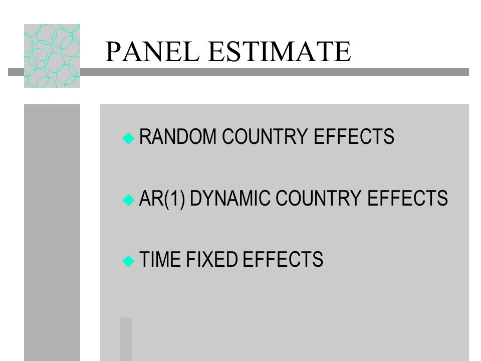 PANEL ESTIMATE RANDOM COUNTRY EFFECTS AR(1) DYNAMIC COUNTRY EFFECTS