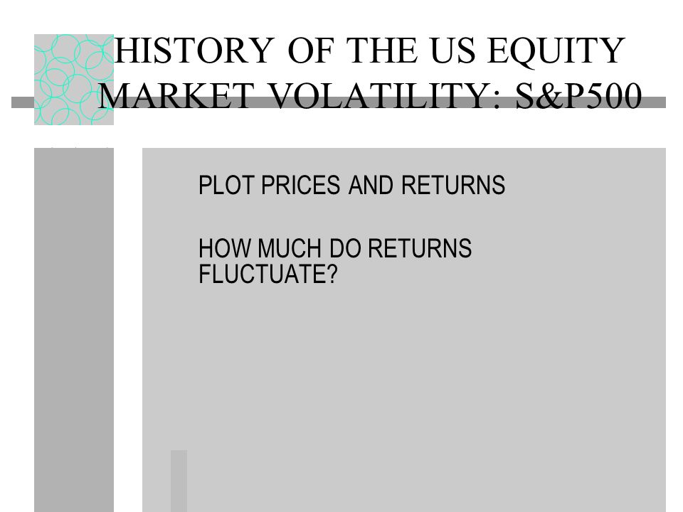 HISTORY OF THE US EQUITY MARKET VOLATILITY: S&P500