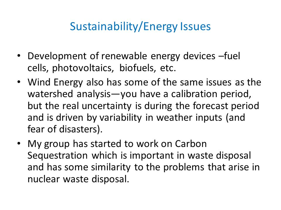 Sustainability/Energy Issues
