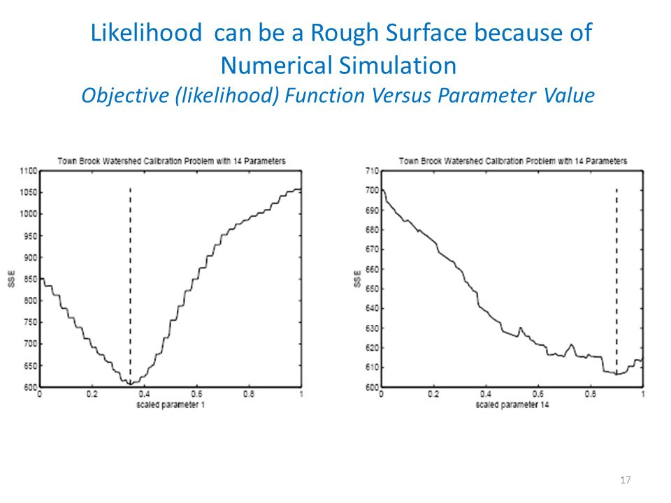 Likelihood can be a Rough Surface because of Numerical Simulation Objective (likelihood) Function Versus Parameter Value
