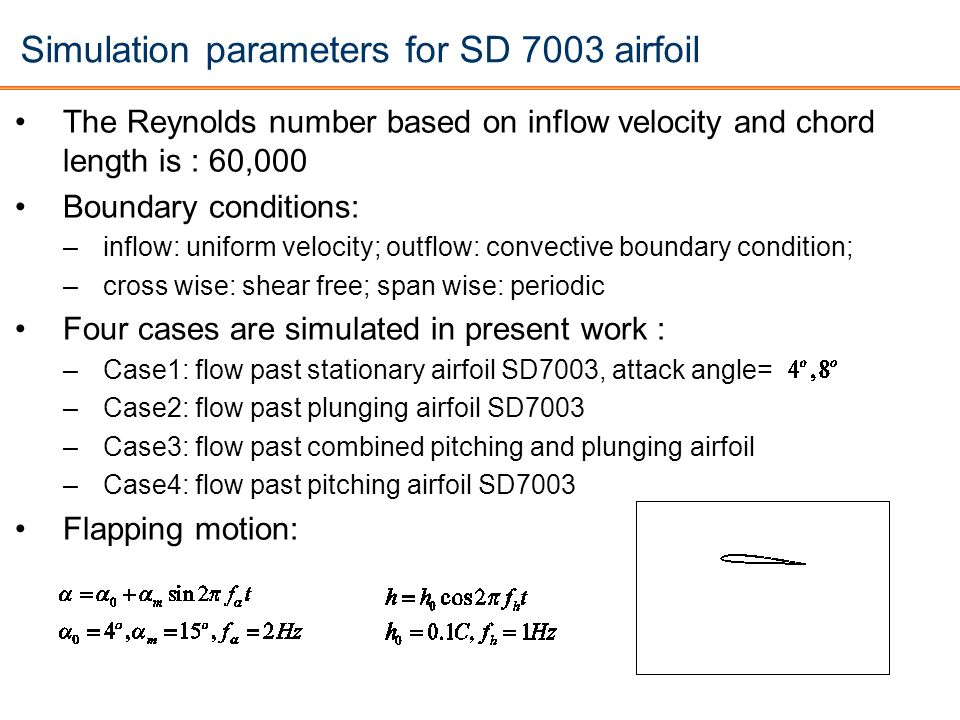 Simulation parameters for SD 7003 airfoil