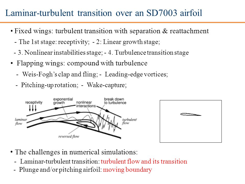 Laminar-turbulent transition over an SD7003 airfoil