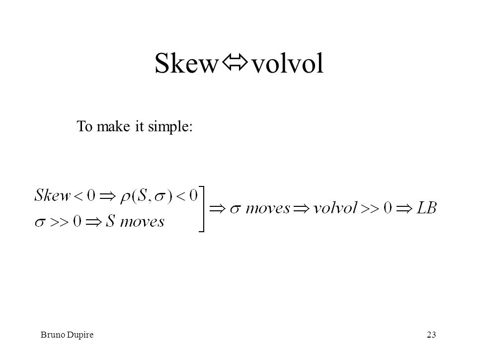 Skewvolvol To make it simple: Bruno Dupire