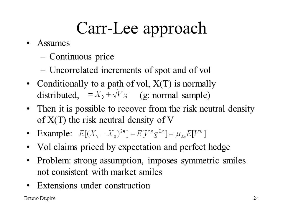 Carr-Lee approach Assumes Continuous price