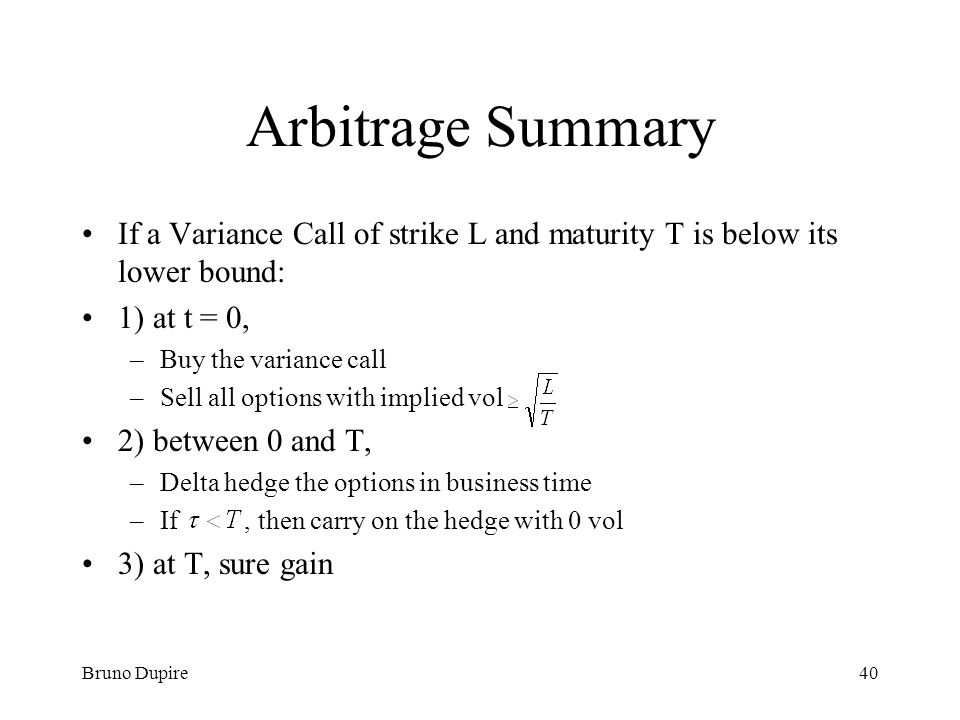 Arbitrage Summary If a Variance Call of strike L and maturity T is below its lower bound: 1) at t = 0,
