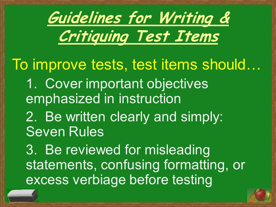 Guidelines for Writing Assessment Questions for E-learning Courses
