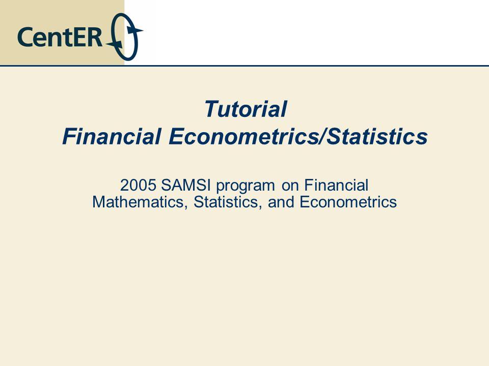 Tutorial Financial Econometrics/Statistics