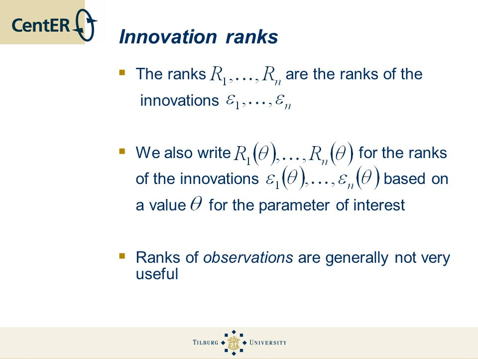 Innovation ranks The ranks are the ranks of the innovations