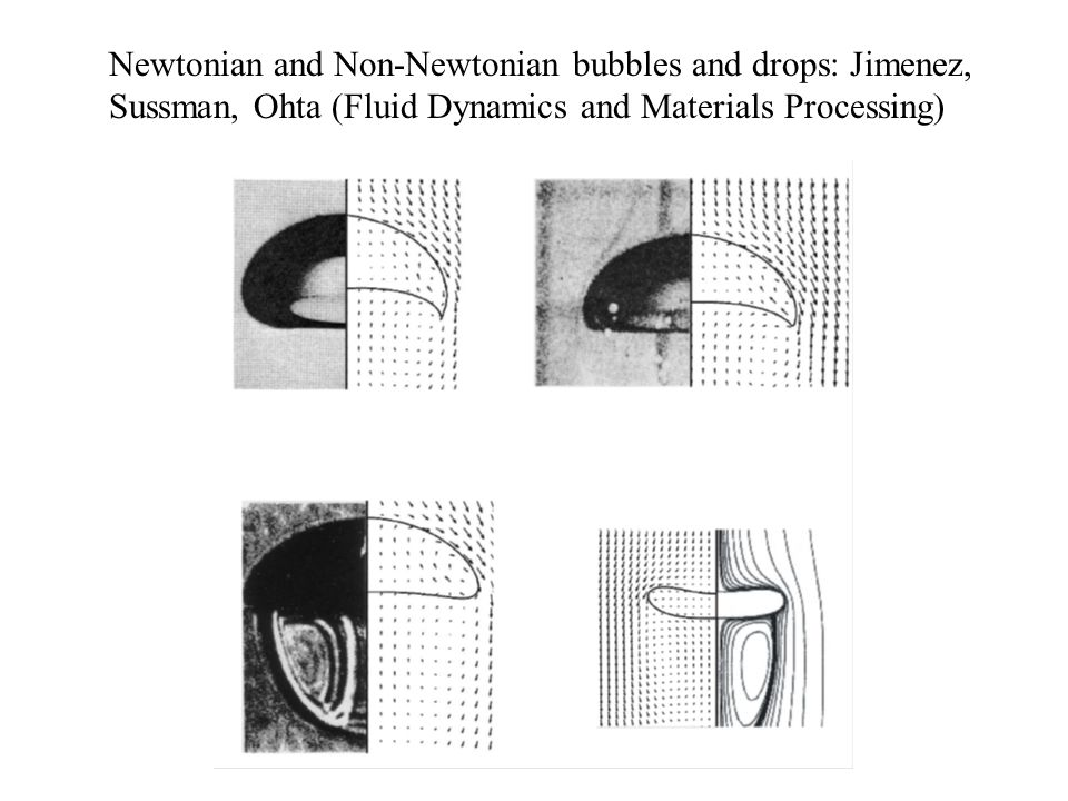 Newtonian and Non-Newtonian bubbles and drops: Jimenez, Sussman, Ohta (Fluid Dynamics and Materials Processing)