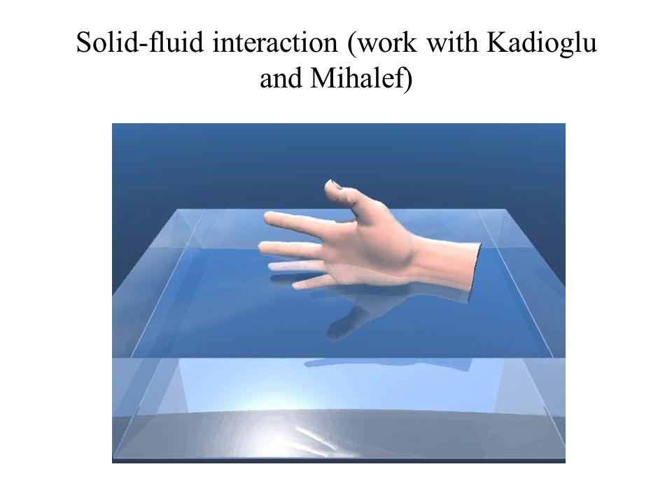 Solid-fluid interaction (work with Kadioglu and Mihalef)