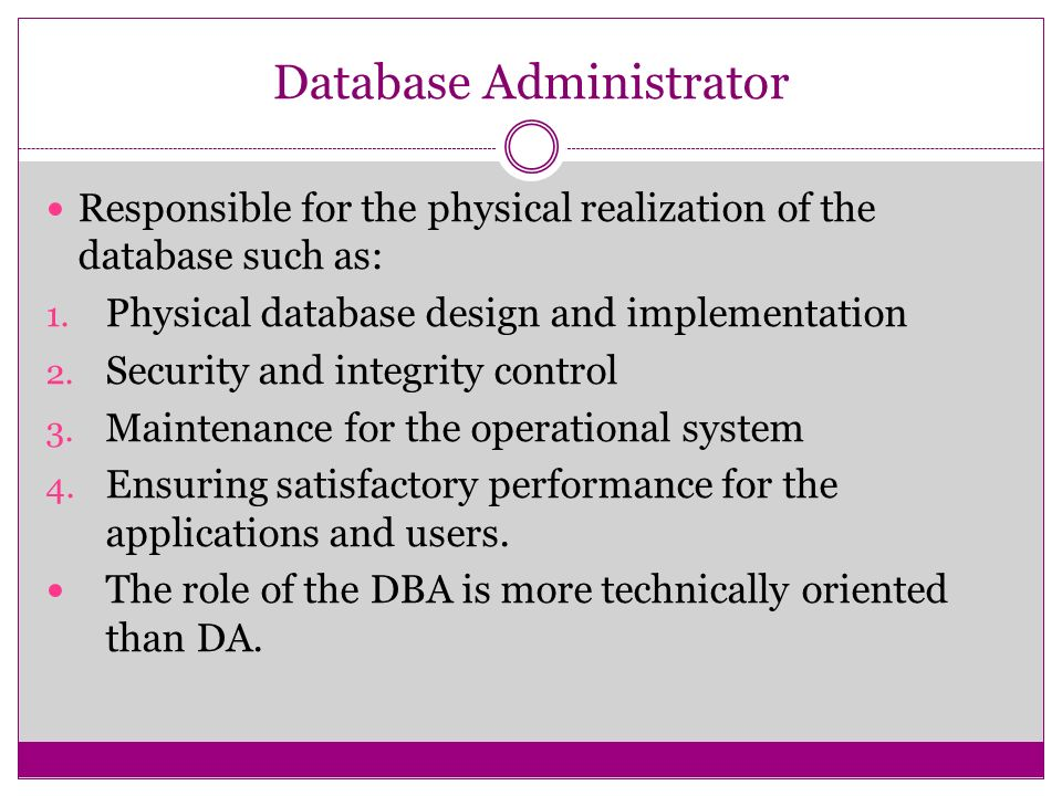 database administrator - Role Of Database Designer