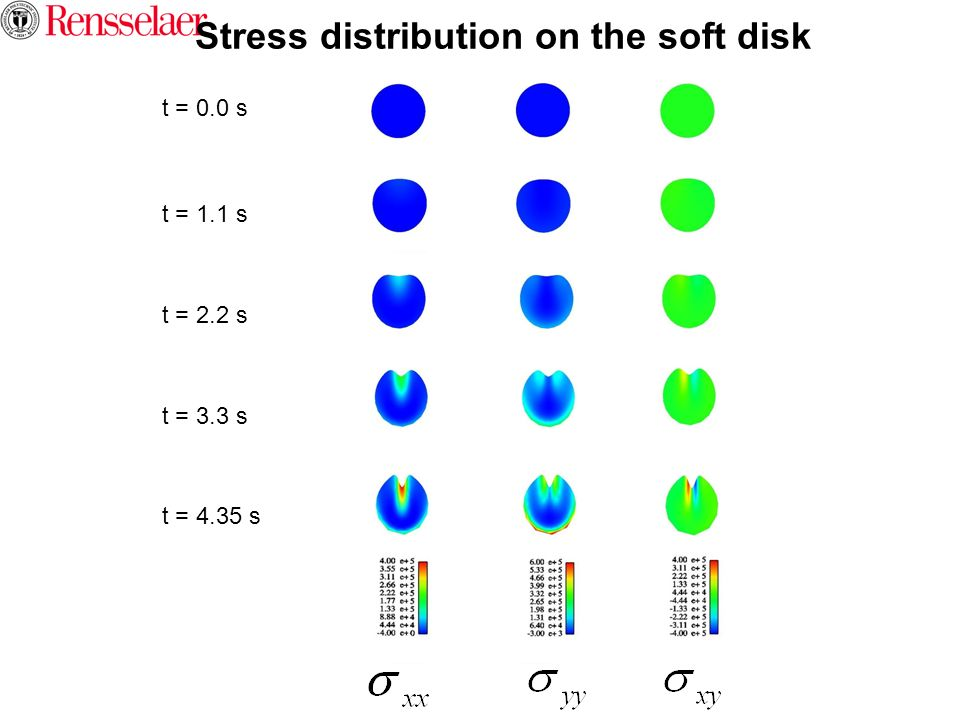 Stress distribution on the soft disk