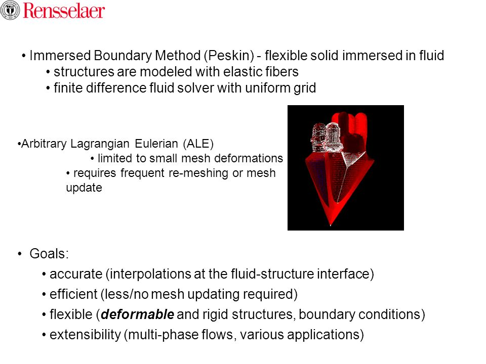 Immersed Boundary Method (Peskin) - flexible solid immersed in fluid