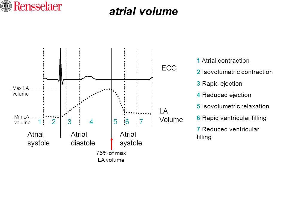 atrial volume Atrial systole Atrial diastole 1 2 3 4 5 6 7 ECG