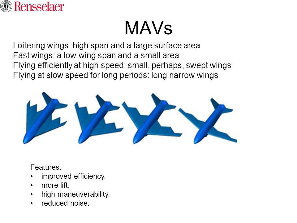 MAVs Loitering wings: high span and a large surface area