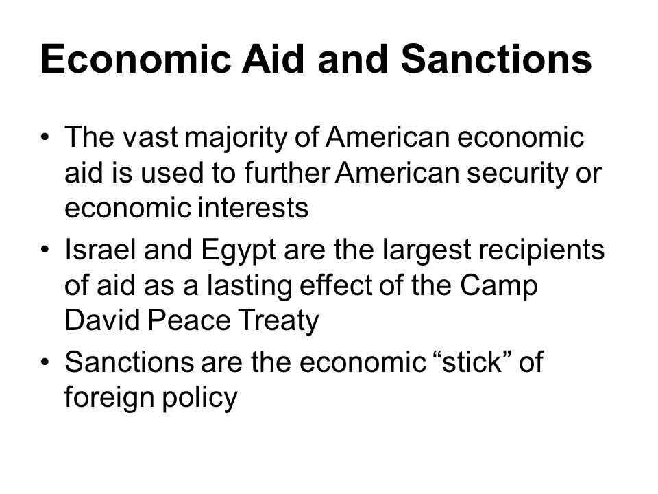 economic sanctions as a policy instrument Of sanctions to achieve foreign policy goals, we have taken care both to distinguish economic sanctions from other economic instruments and to separate foreign policy goals from other objectives of economic leverage the boundaries we have set may be described in the following way.