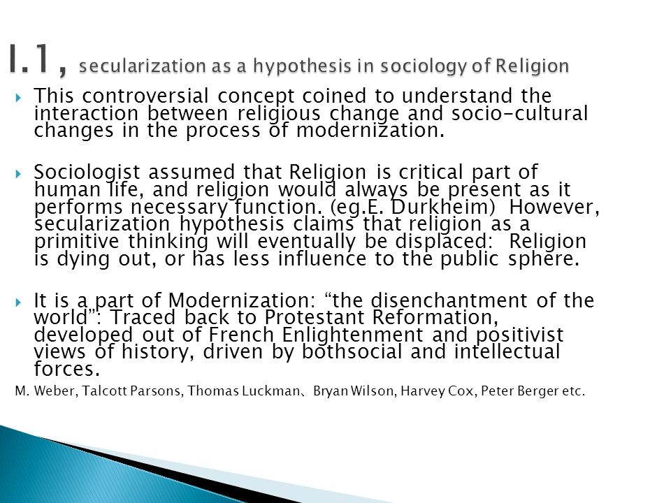 sociology of religion approaches to secularization