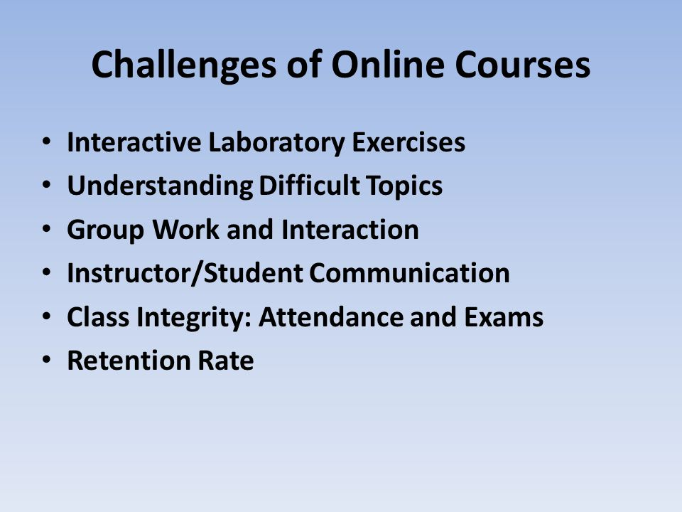 Challenges of Online Courses