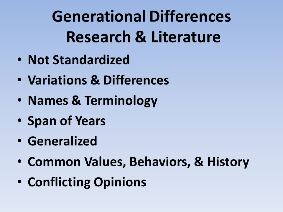 Generational Differences Research & Literature