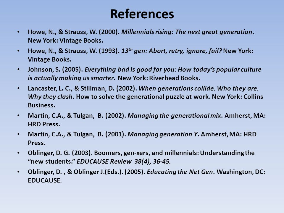 References Howe, N., & Strauss, W. (2000). Millennials rising: The next great generation. New York: Vintage Books.