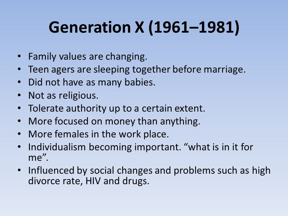Generation X (1961–1981) Family values are changing.